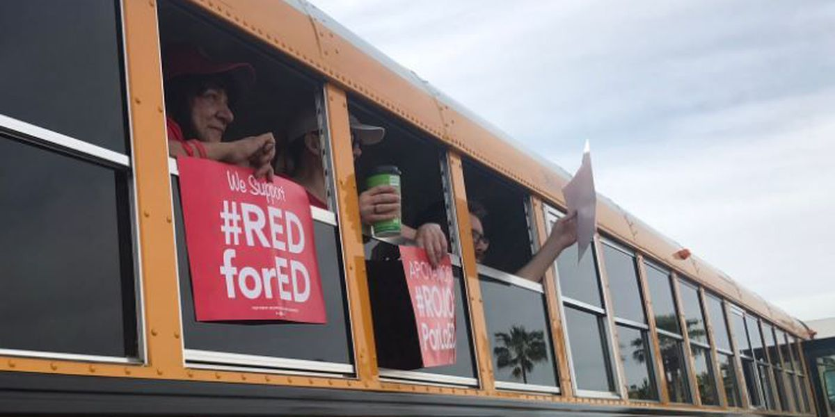 Tucson teachers head to Phoenix for rally on first day of walkout