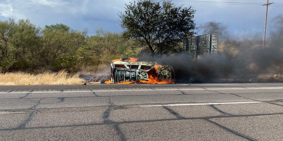 Border agents rescue driver from flaming SUV