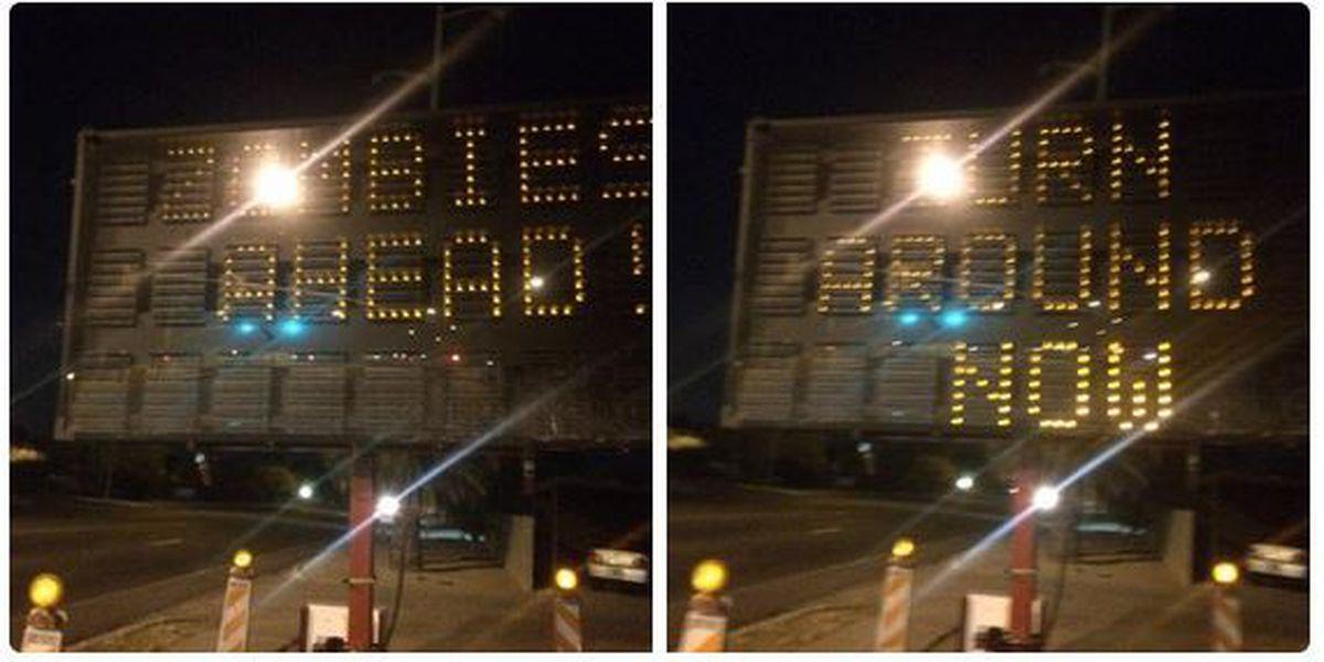 Tucson digital traffic sign hacked, warns of 'Zombies Ahead'