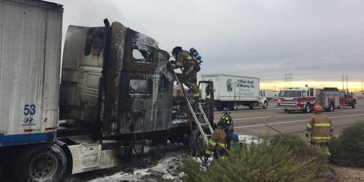 Semi fire on I-10 closes Twin Peaks off-ramp