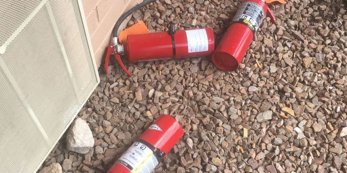 Fire extinguishers helped keep an apartment fire confined to one room
