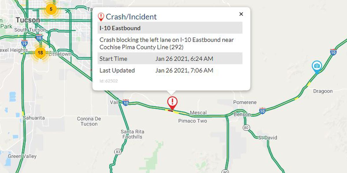 Serious crash reported on eastbound I-10 near Mescal