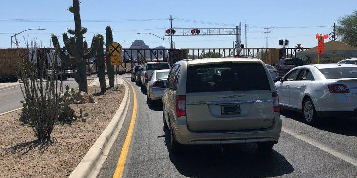 UPDATE: Train no longer blocking Cortaro Farms Road, expect traffic delays