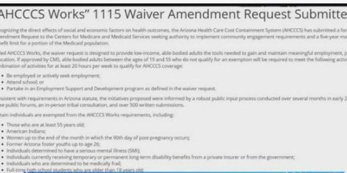 Waiver for Medicaid to require recipients to work or go to school to receive benefits