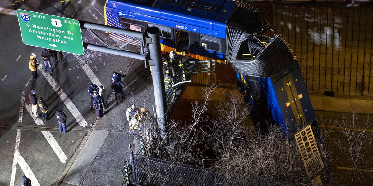 Bus driver who veered off bridge, refused test is suspended