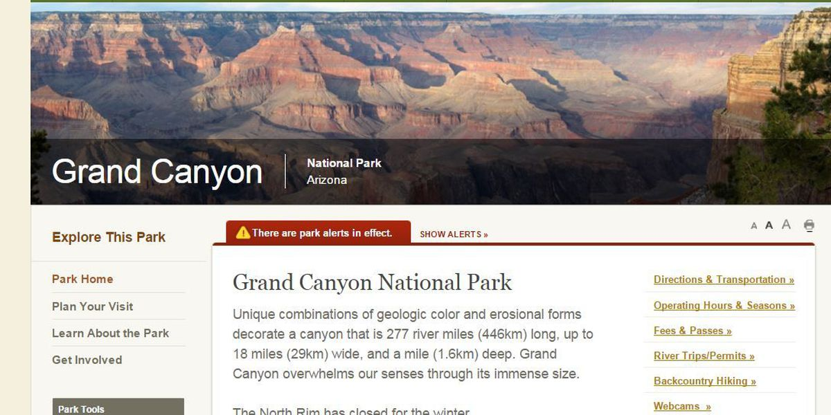 North Rim of the Grand Canyon closed for the winter season
