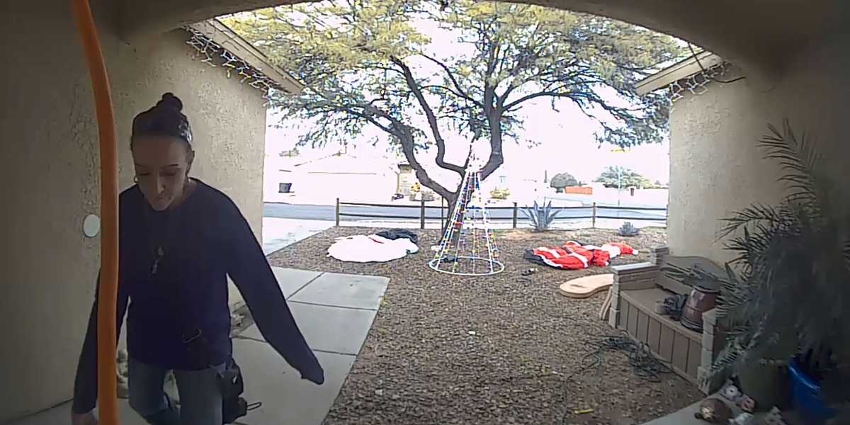 Woman searches for thief who stole kid's Christmas presents from porch