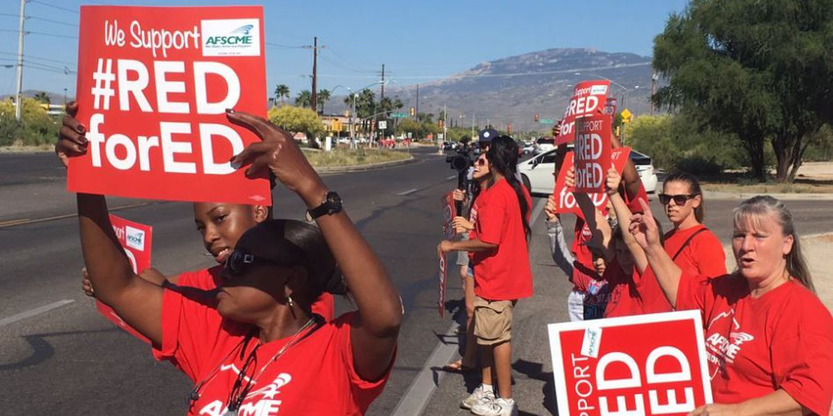 Thousands of support staff join educators in Tucson rally