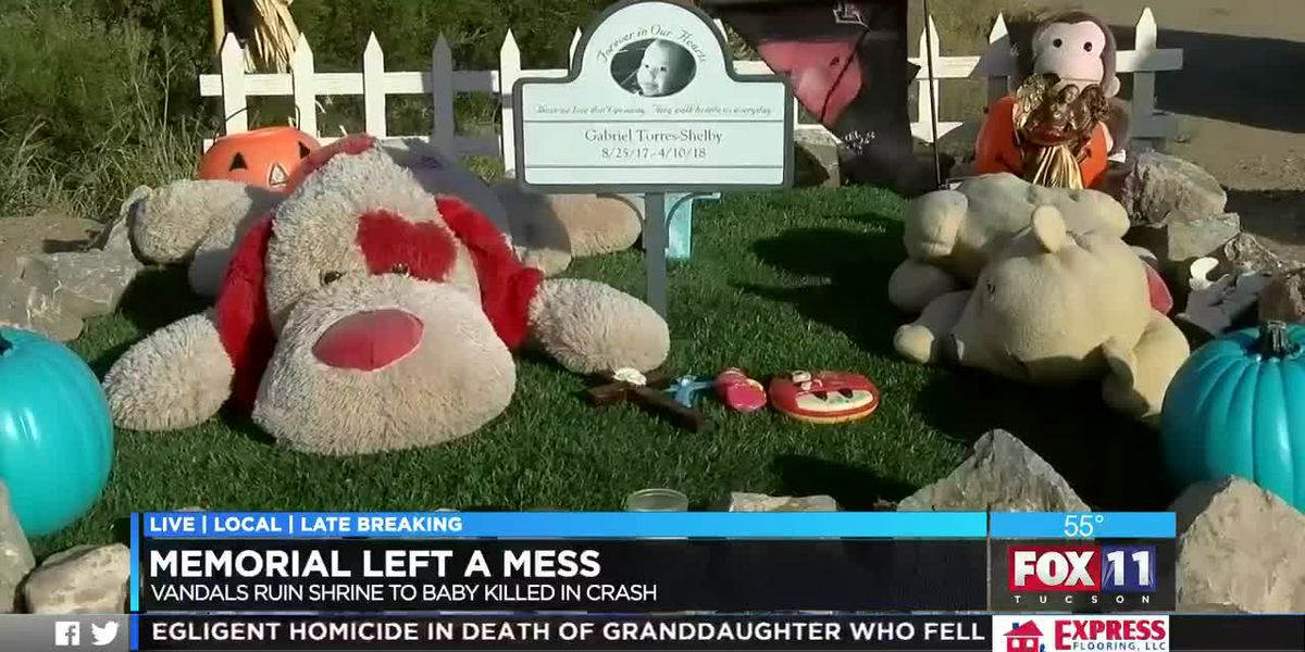 Memorial for child who died in speeding crash ruined