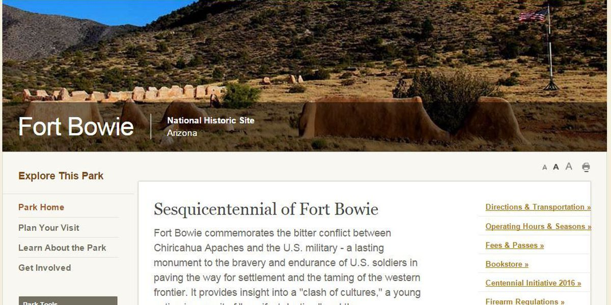 Fort Bowie National Historic Site Visitor Center winter schedule