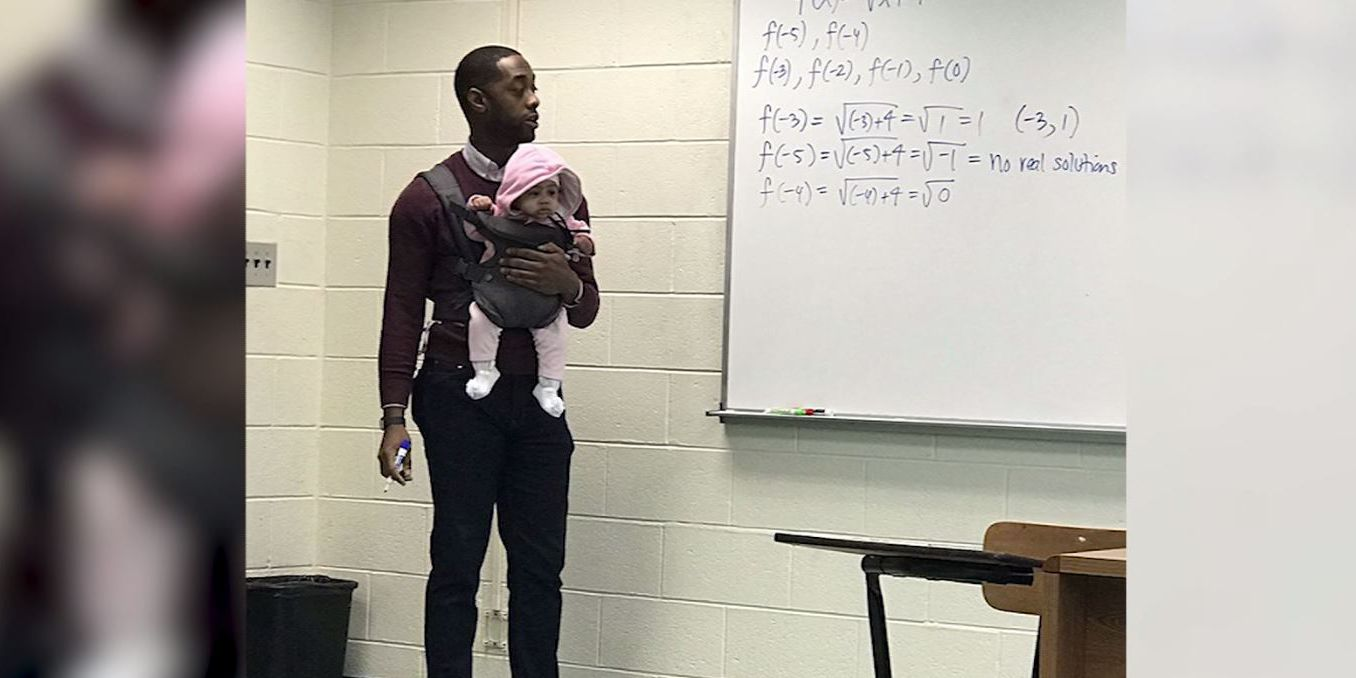 647362ec05c Professor holds student s child in Baby Bjorn-style carrier during class