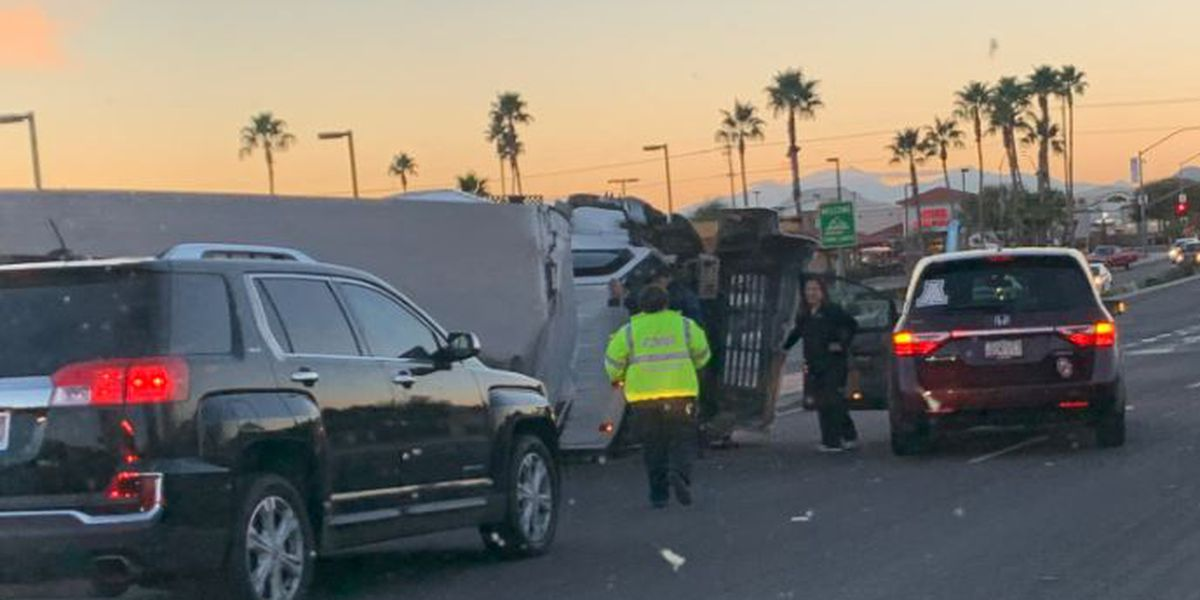 Overturned truck causes backup for commuters on NW side