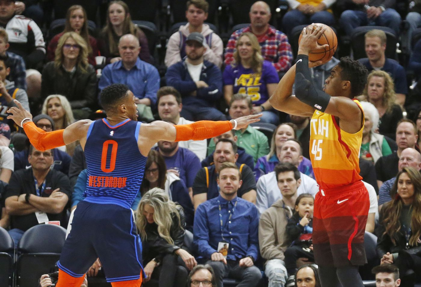 huge discount 9aed0 8de9b Utah Jazz guard Donovan Mitchell (45) shoots as Oklahoma City Thunder guard  Russell Westbrook