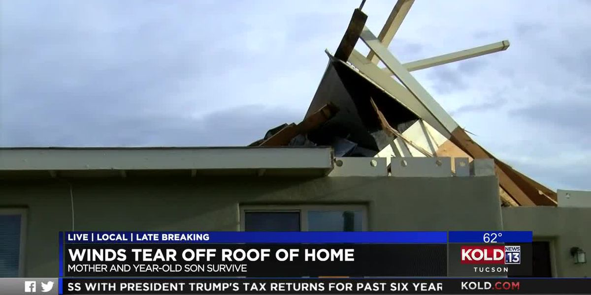 Winds tear off roof of home
