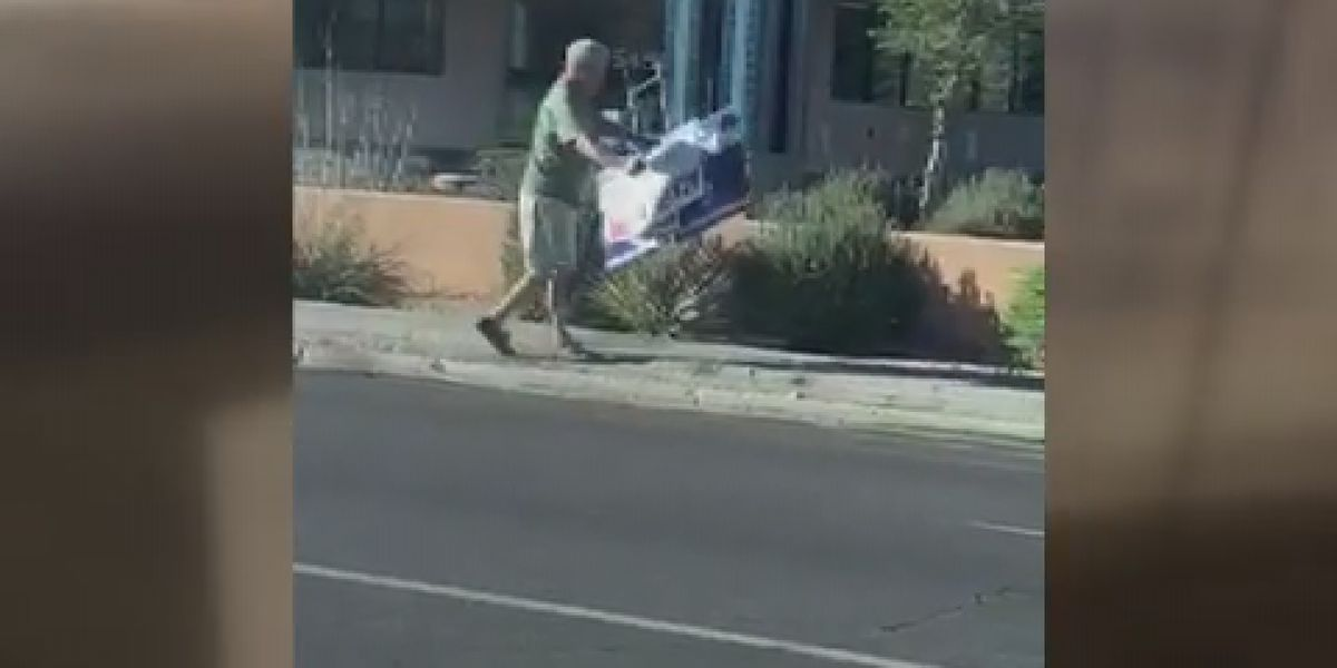 CAUGHT ON CAMERA: Man walks off with campaign signs on Tucson's streets